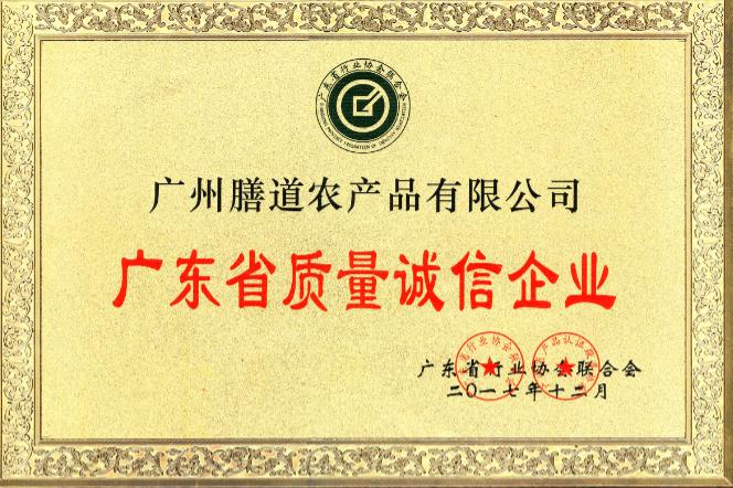 广东省质量诚信企业证书